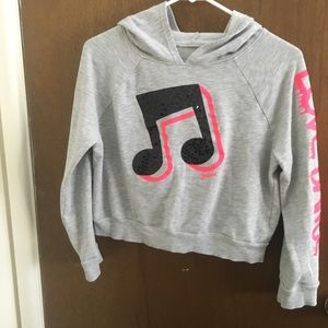 Justice Gray Dance Cropped Hoodie Girl Sz 16/18
